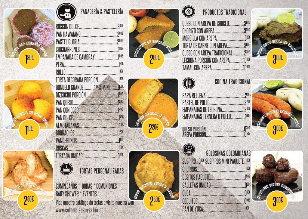 carta QR Colombia pan y sabor